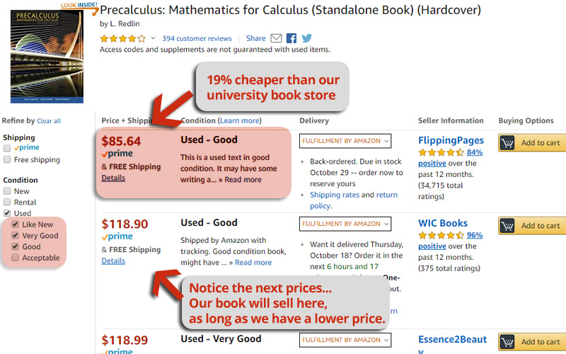 used book prices
